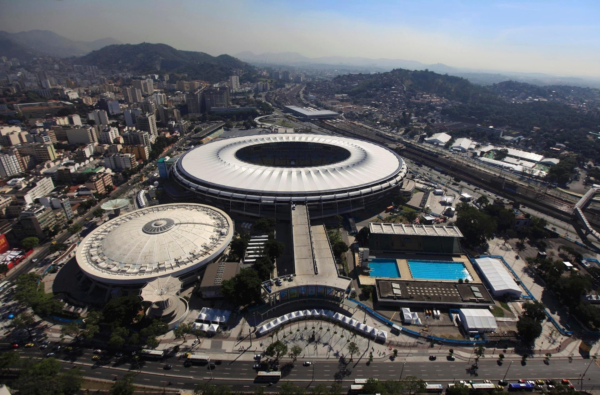Rio de Janeiro - Visão aérea do Maracanã, palco da final da Copa do Mundo