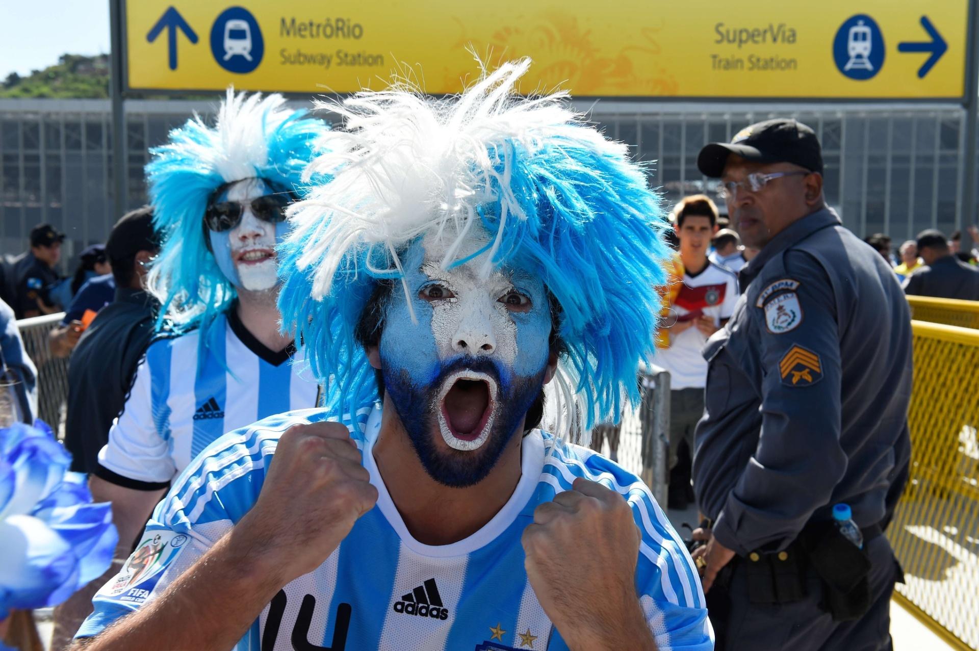 Torcedor da Argentina mostra muita força para apoiar a seleção contra a Alemanha, neste domingo