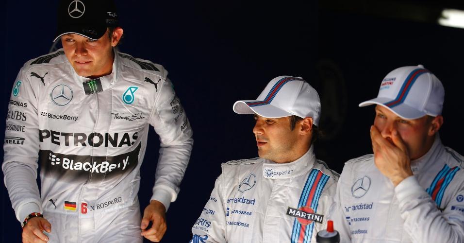 19.jul.2014 - Nico Rosberg (esquerda), da Mercedes, largará na pole position no GP da Alemanha. Felipe Massa (centro) sai na terceira posição e Bottas (direita) em segundo lugar