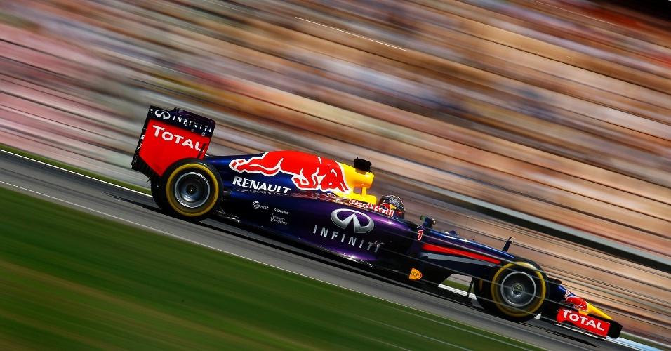 19.jul.2014 - Sebastian Vettel acelera durante o treino oficial do GP da Alemanha. O piloto da RBR larga na sexta posição