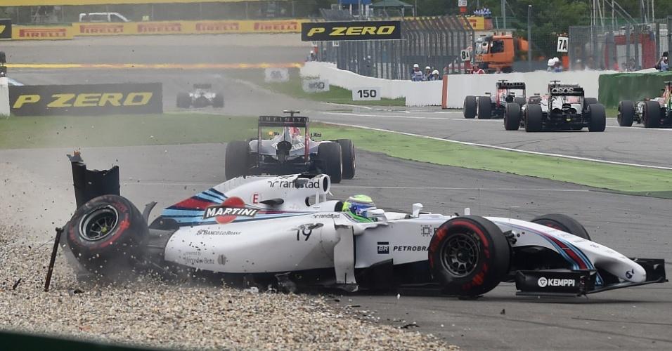 Felipe Massa abandona o GP da Alemanha após se chocar com Magnussen na primeira curva