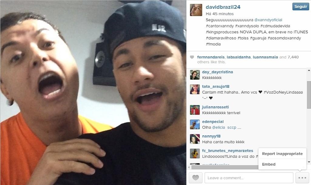 22.jul.2014 - David Brazil publicou vídeo cantando com Neymar
