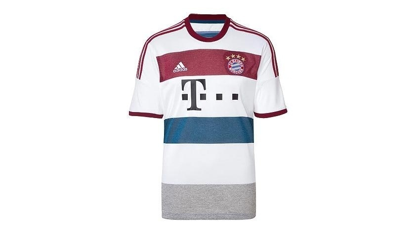 26.jul.2014 - Nova camisa de visitante do Bayern de Munique tem camisa branca com tarjas vinho, azul e cinza
