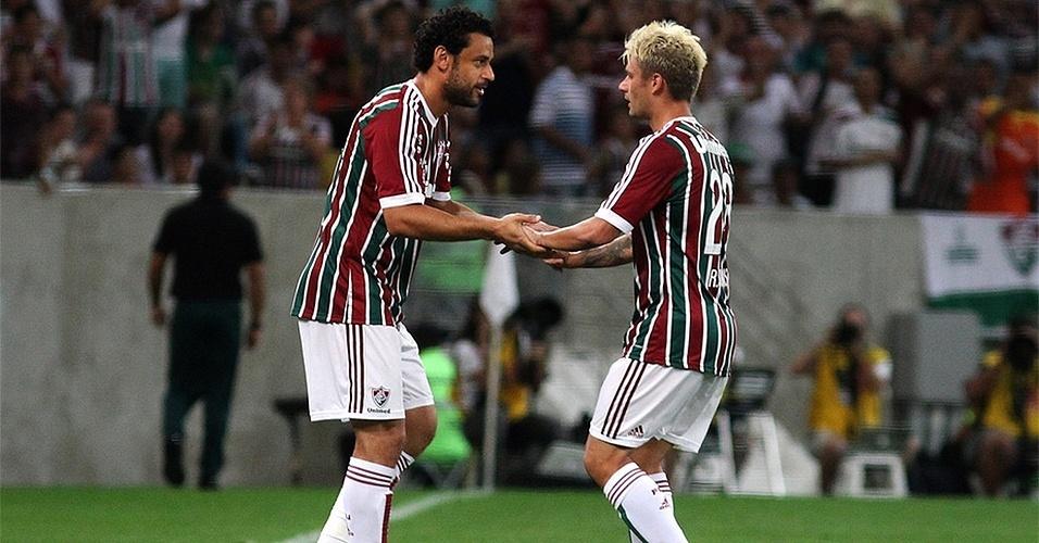 03 ago. 2014 - Fred entra no lugar de Rafael Sóbis durante jogo entre Fluminense e Goiás, pelo Campeonato Brasileiro