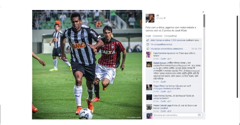 4 ago 2014 - Jô comemora via Facebook a vitória sobre o Atlético-PR e é cobrado por internautas por não ter se reapresentado nesta segunda-feira