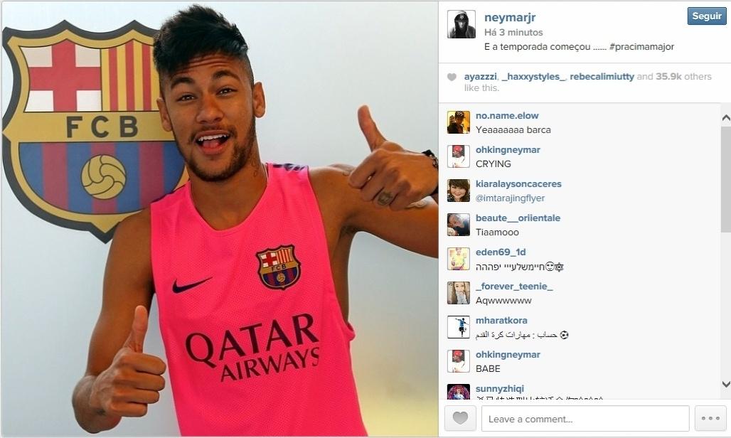 05.ago.2014 - Pelo Instagram, Neymar postou uma foto de seu retorno ao Barcelona.