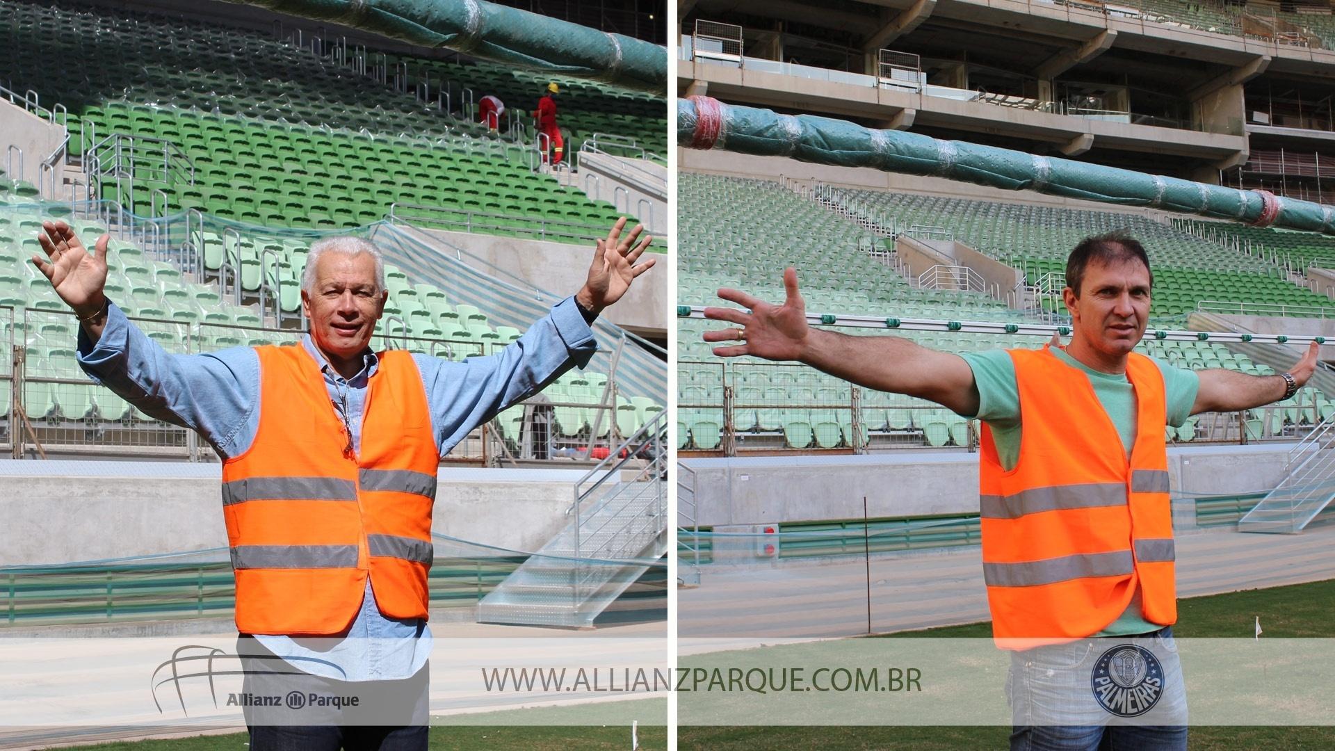 06.ago.2014 - Leão e Velloso visitam as obras da Arena do Palmeiras