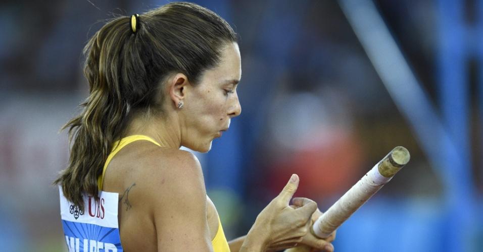 28. ago. 2014 - Fabiana Murer se prepara para salta na etapa de Zurique da Liga de Diamante, nesta quinta-feira