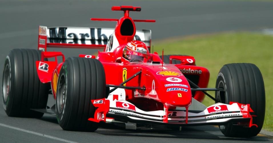 Michael Schumacher, durante o GP da Austrália de 2004, com sua Ferrari