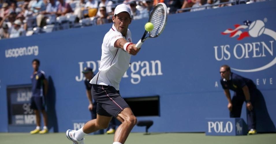 06.set.2014 - Número 1 do ranking mundial, sérvio Novak Djokovic disputa semifinais do Aberto dos Estados Unidos contra Kei Nishikori, primeiro japonês em uma semifinal de Grand Slam desde 1933