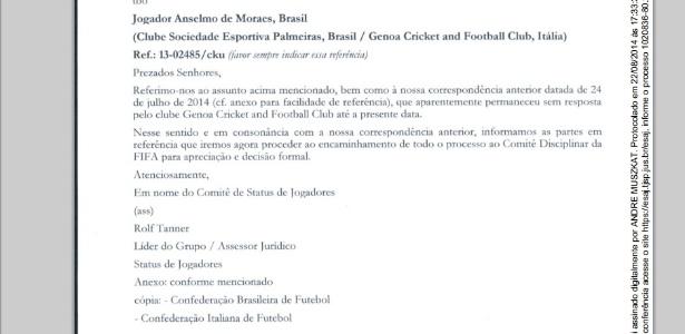Carta da Fifa avisou ao Genoa que o caso será levado ao Comitê Disciplinar
