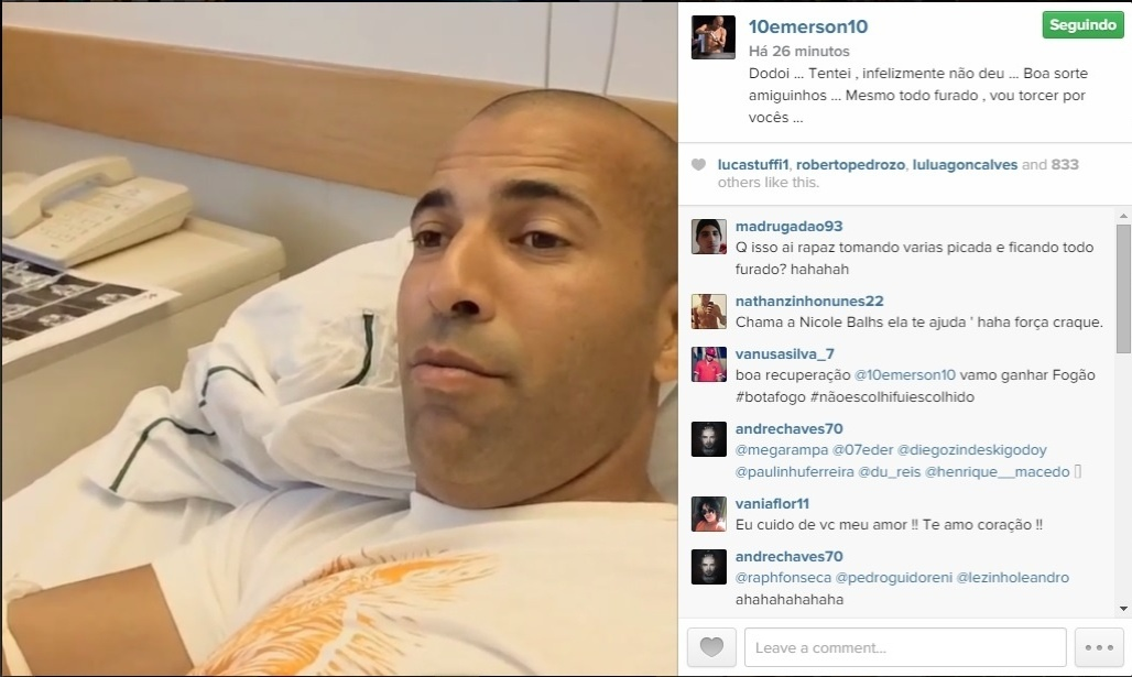 Atacante Emerson Sheik, do Botafogo, posta foto em hospital do Rio