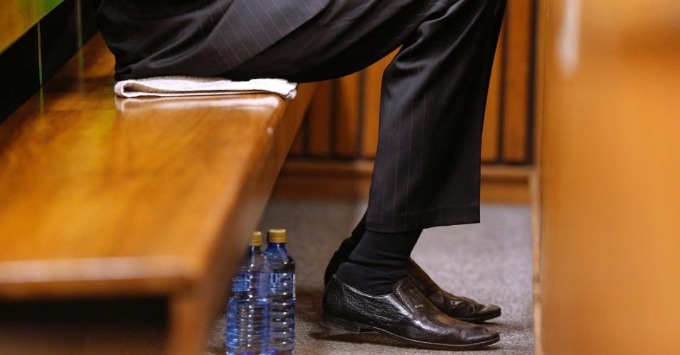 Detalhe da leitura de veredito de Oscar Pistorius. Ele ficou em um setor reservado do tribunal, sozinho, e chegou a chorar no começo da sessão