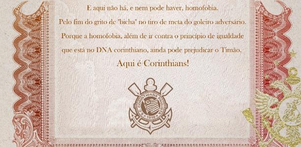 Manifesto corintiano contra a homofobia foi publicado no site oficial do clube