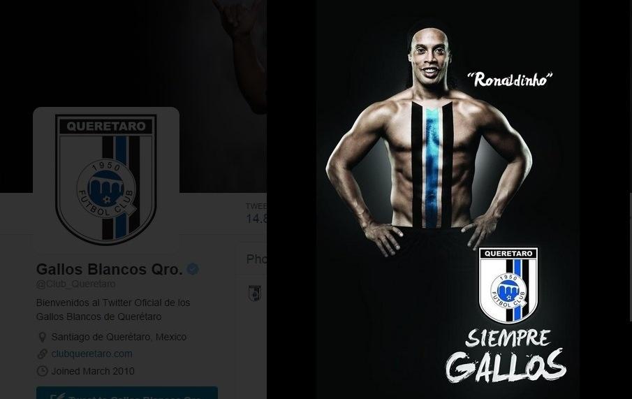 13.set.2014 - Gallos Blancos de Querétaro publicam imagem de Ronaldinho pintado com s cores do novo clube