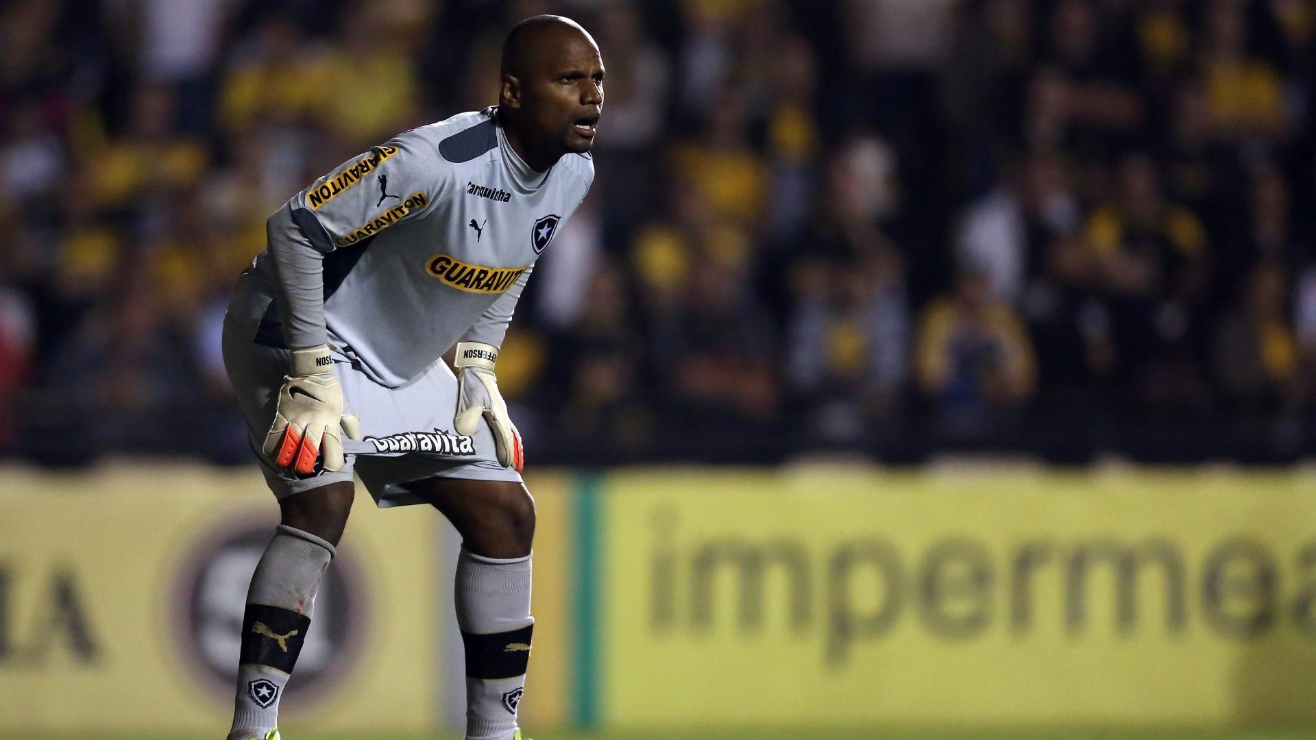 20.set. 2014 - Goleiro Jefferson se posiciona para defender a meta do Botafogo, contra o Criciúma, pelo Campeonato Brasileiro