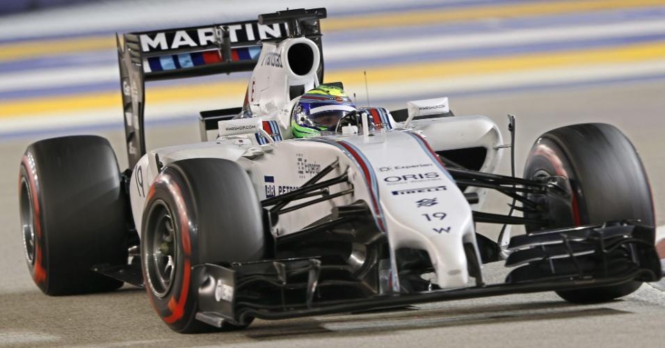 20.set.2014 - Felipe Massa chegou a liderar o Q3, mas foi superado pelos adversários na parte final e larga na sexta posição em Cingapura