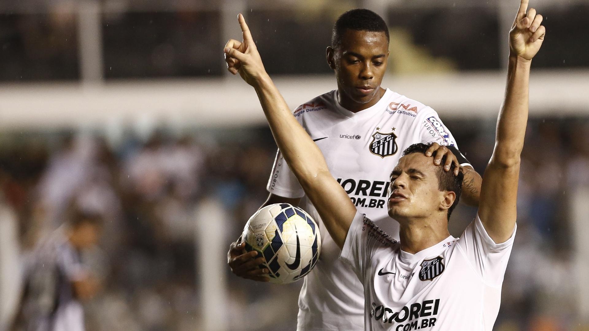 Leandro Damião comemora com seus companheiros gol do Santos contra o Figueirense pelo Brasileirão