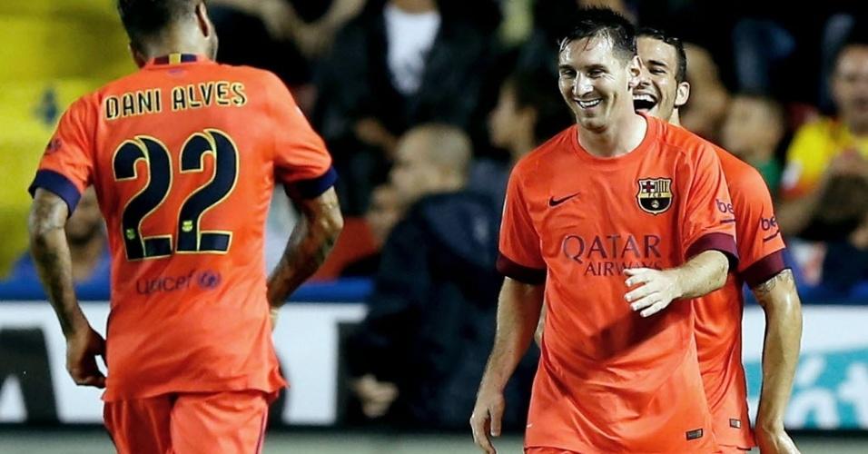 O argentino sorri depois de marcar o quinto gol na goleada do Barcelona sobre o Levante