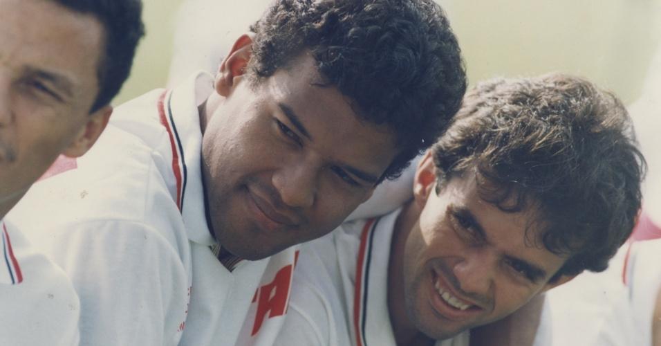 Muller e Palhinha em treino do São Paulo em 1993