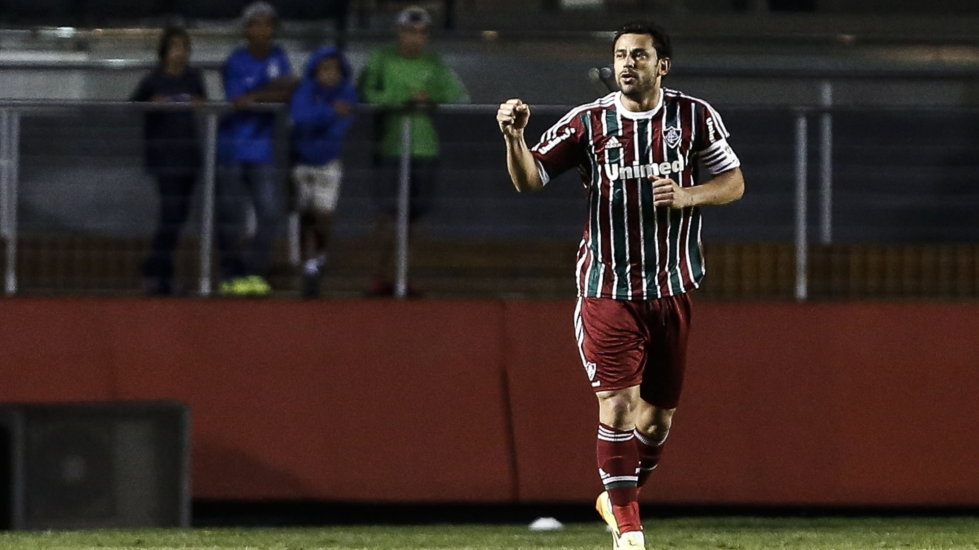 Fred comemora o primeiro gol do Fluminense sobre o São Paulo no Morumbi
