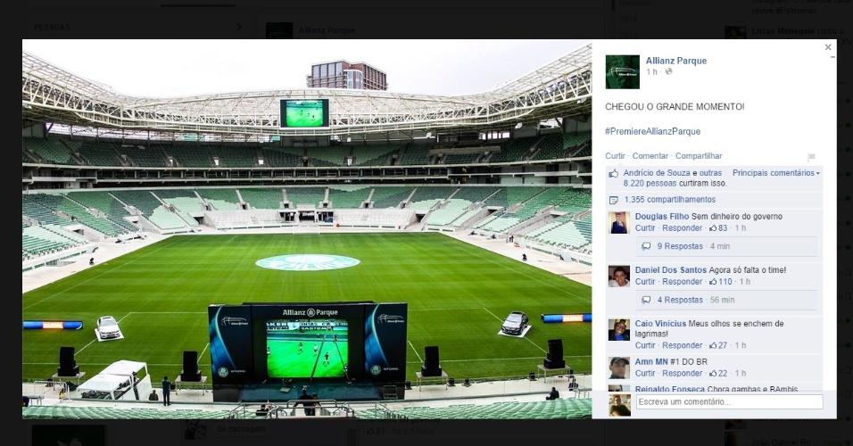 Reprodução do Facebook da Arena Palestra, que mostra a preparação para o primeiro evento-teste do estádio