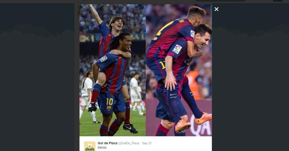 Reprodução de montagem que correu a internet com uma comparação entre as comemorações de Messi e Ronaldinho e Messi e Neymar