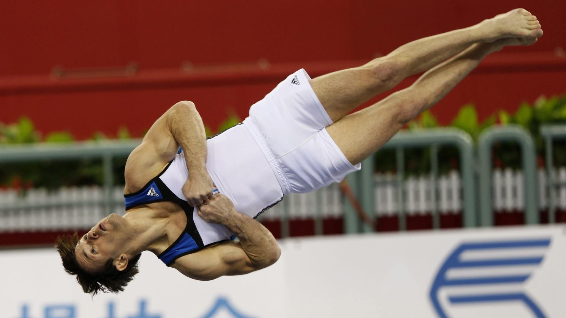 03. out. 2014 - Diego Hypolito se apresenta no solo, no Mundial de ginástica, na China