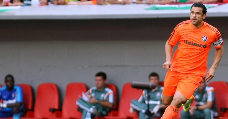 04.out.2014 - Fred em campo para o duelo entre Fluminense e Bahia