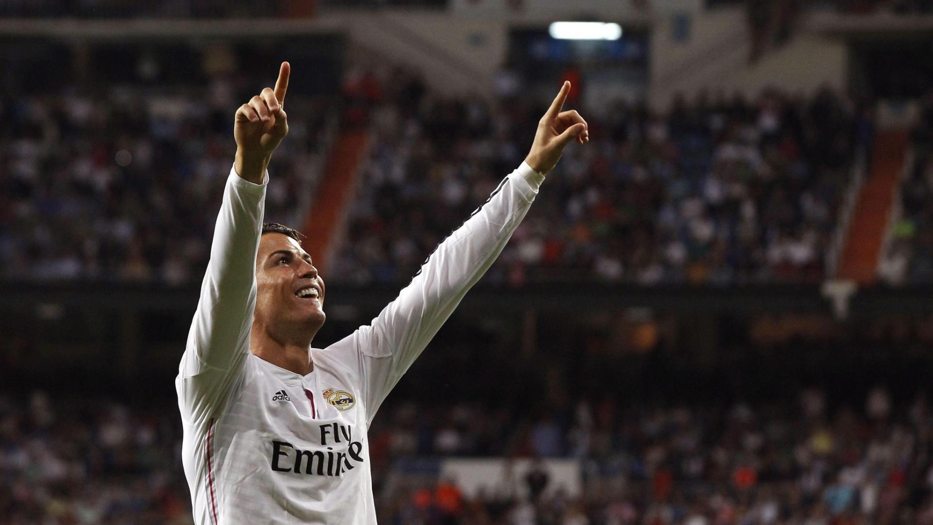 Cristiano Ronaldo comemora após abrir o placar para o Real Madrid contra o Athletic Bilbao