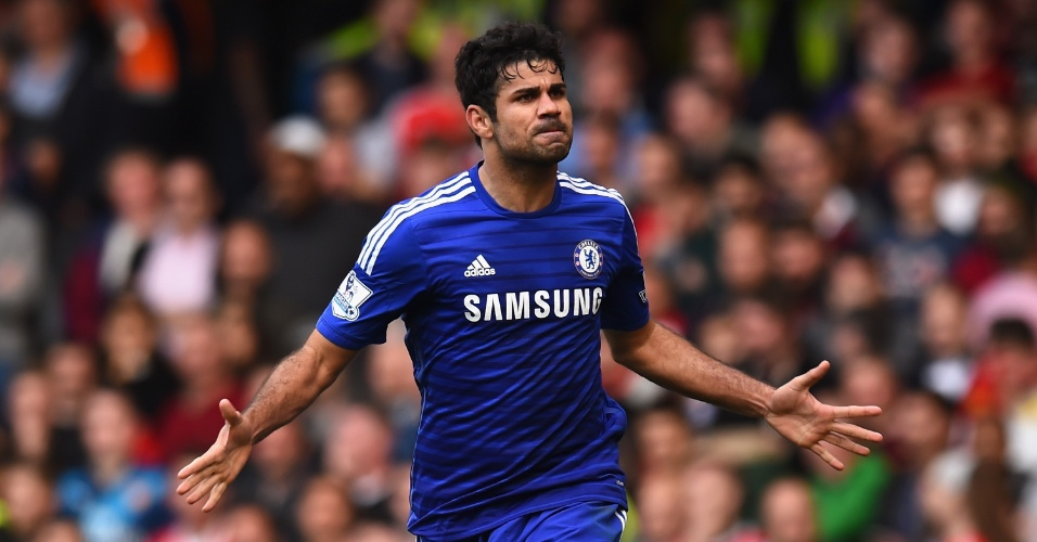 Diego Costa comemora gol do Chelsea - nono dele, artilheiro do campeonato