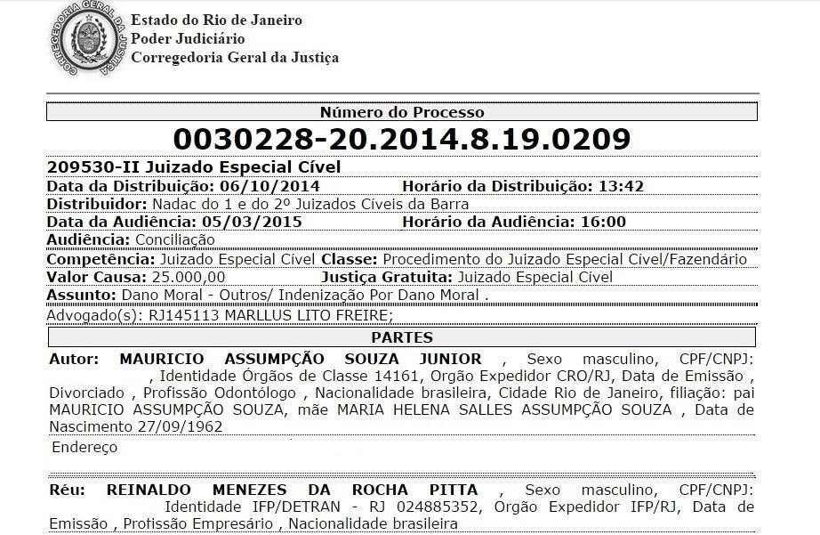 Reprodução do processo de Maurício Assumpção contra o empresário Reinaldo Pitta