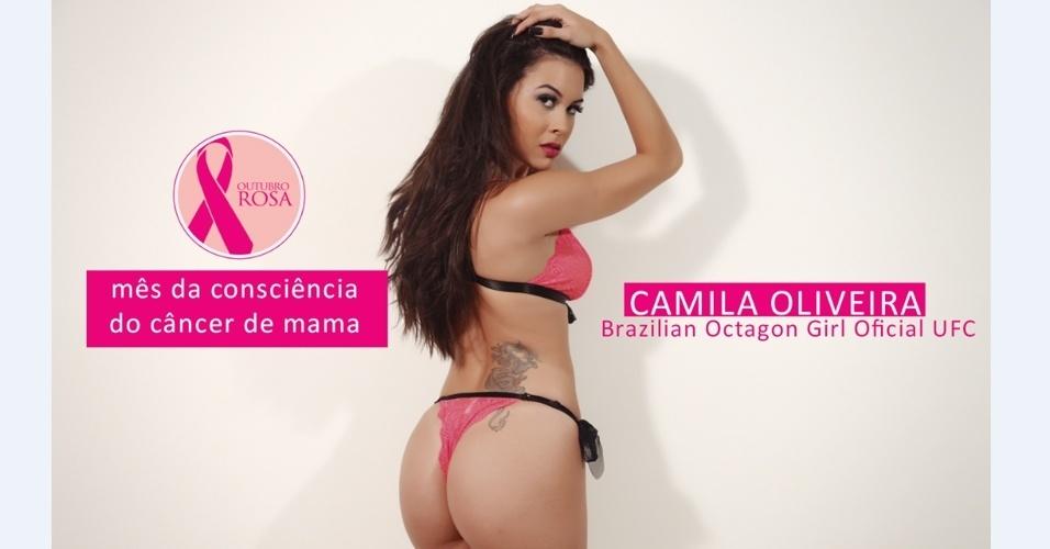 A ring girl do UFC Camila Oliveira fez um ensaio sensual por uma boa causa. Ela posou de lingerie e ataduras cor de rosa para chamar atenção ao mês de outubro, usado na conscientização do câncer de mama. As fotos foram feitas durante uma sessão para o site Feito para Homens