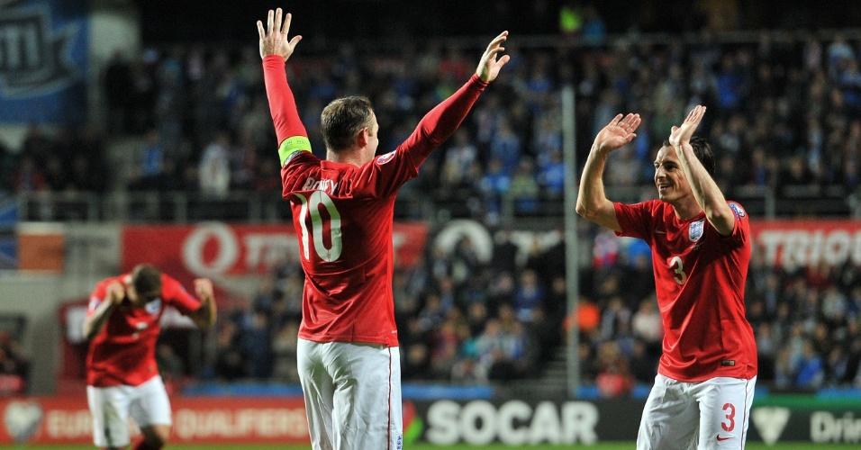Wayne Rooney, atacante da inglaterra, comemora gol marcado contra a Estônia, em jogo válido pelas Eliminatória para a Euro 2016