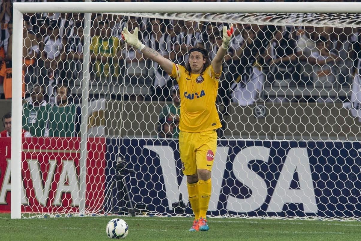 Cássio reclama com o time no vexame frente o Atlético-MG