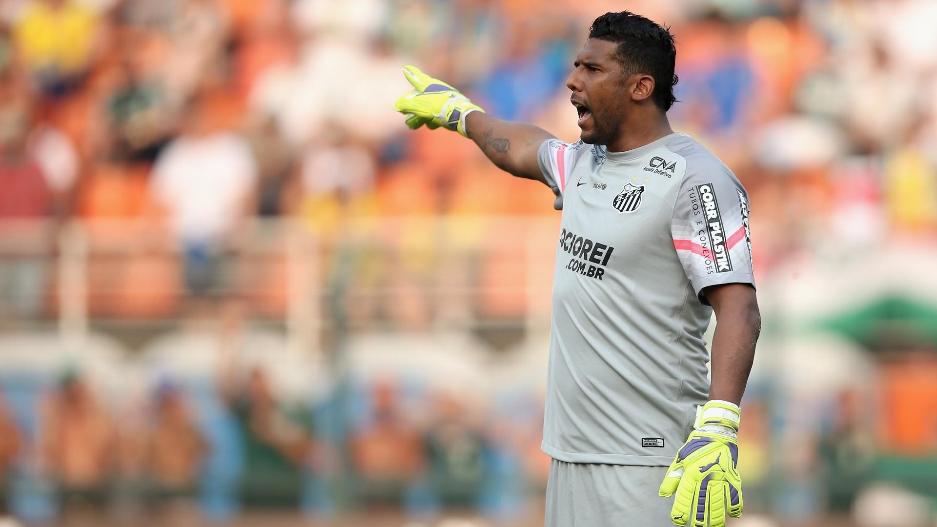 Goleiro Aranha, do Santos, orienta a defesa durante clássico contra o Palmeiras no Pacaembu