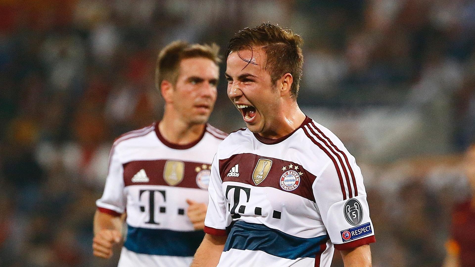 Gotze comemora um dos gols do Bayern de Munique contra a Roma