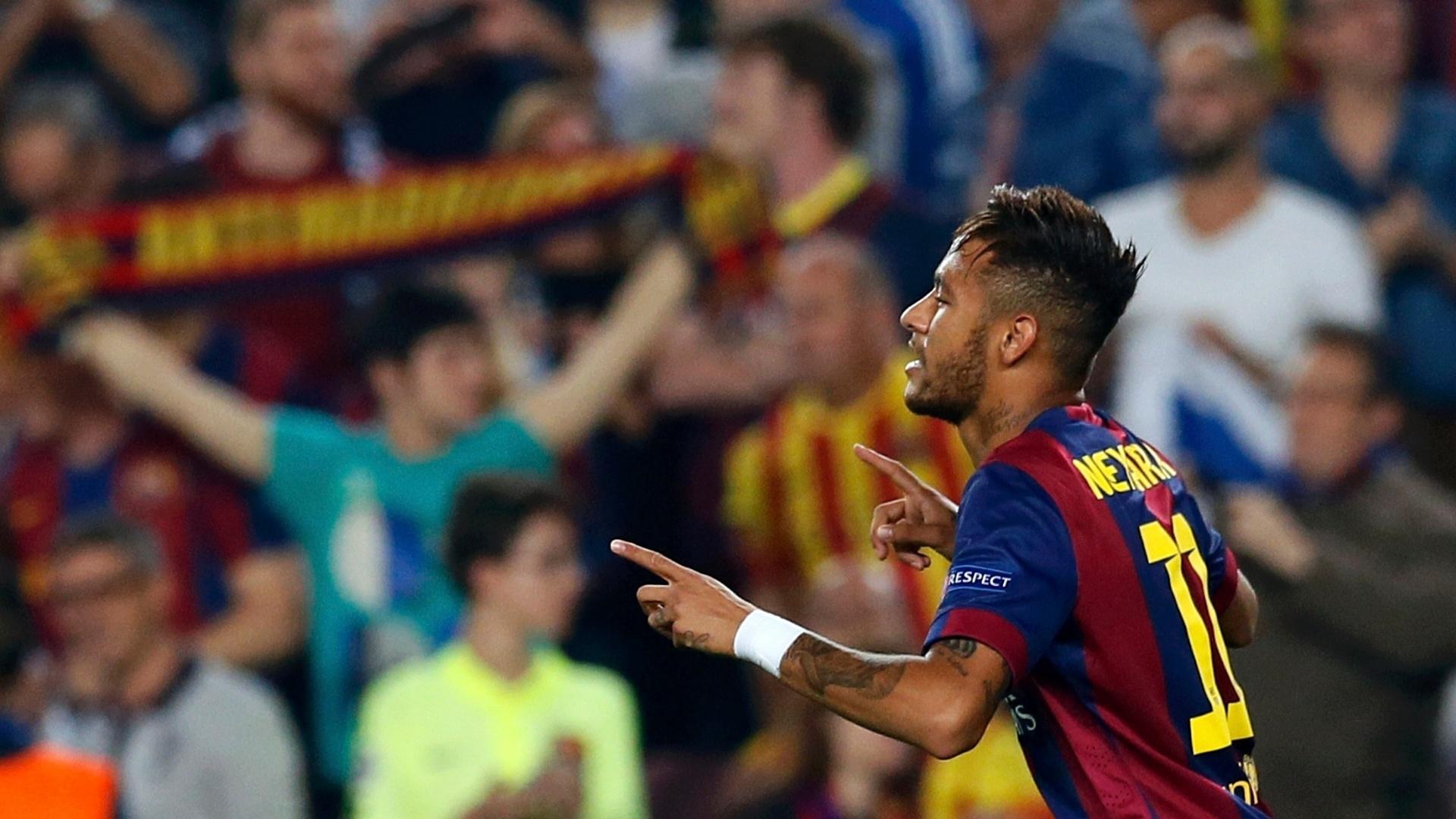 Neymar comemora primeiro gol do Barcelona contra o Ajax