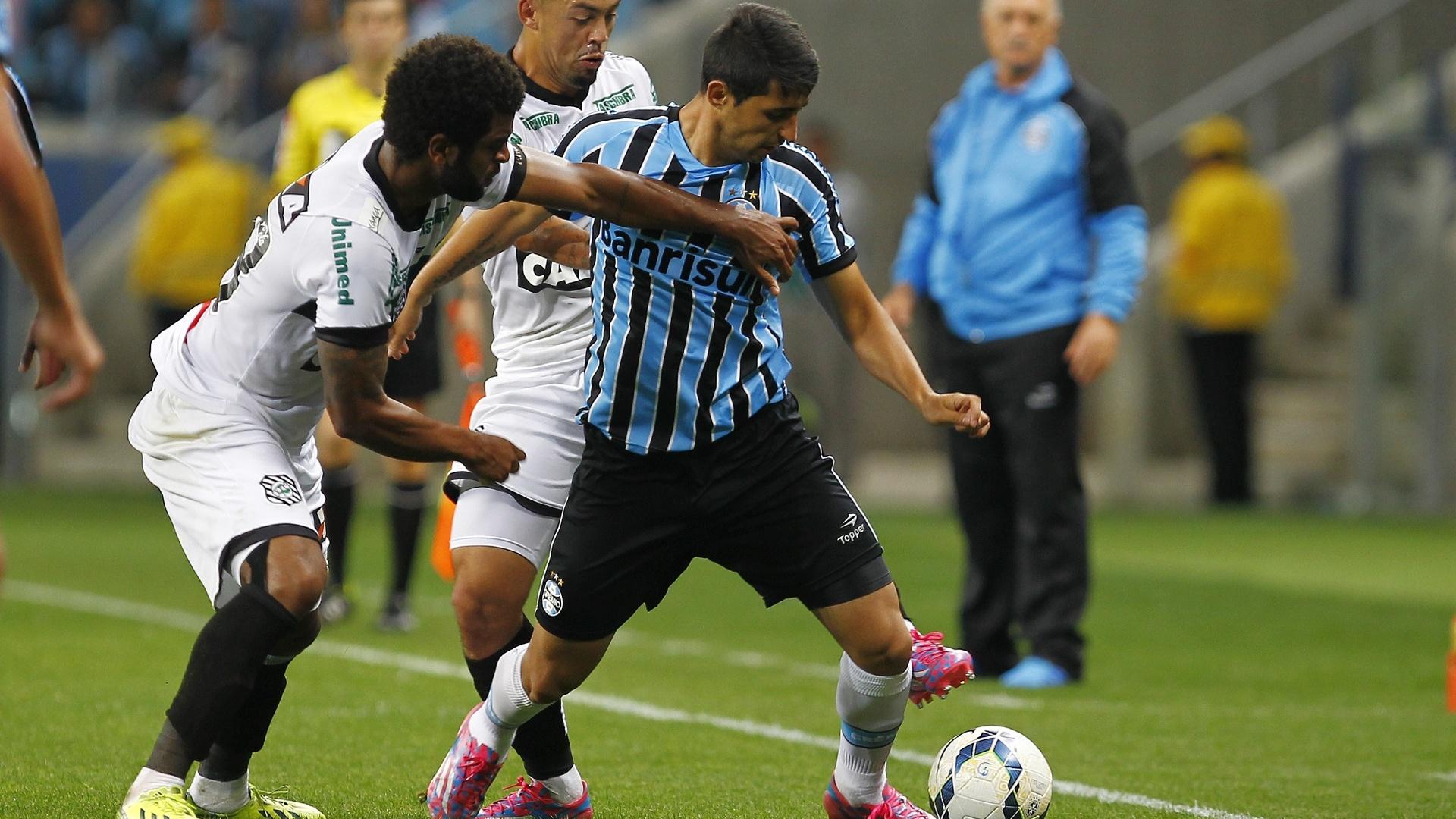 Alan Ruiz, do Grêmio, protege a bola da marcação dos jogadores do Coritiba