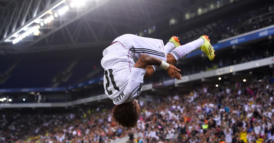 Marcelo comemora quarto gol da goleada do Real Madrid na Copa do Rei