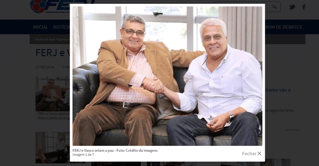 Rubens Lopes (esq) e Roberto Dinamite (dir) tinham selado as pazes em junho de 2014