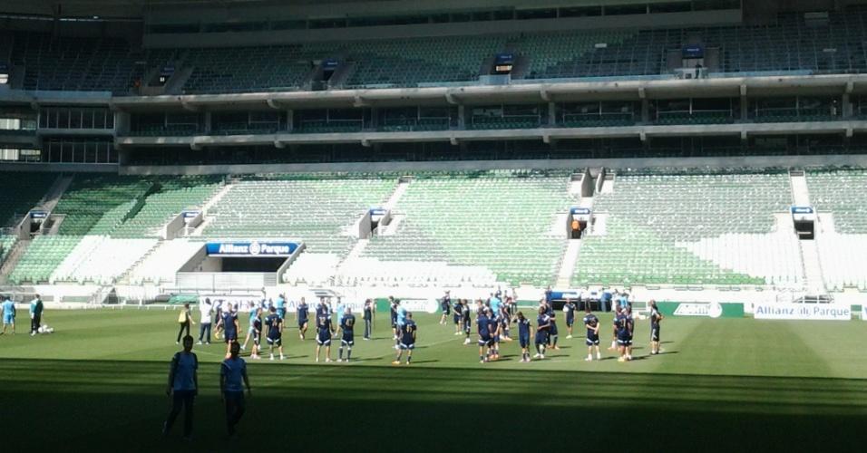 Jogadores do Palmeiras realizam treinamento na Arena Palestra