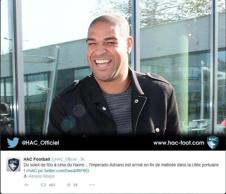 Adriano visita Le Havre, time da segunda divisão francesa