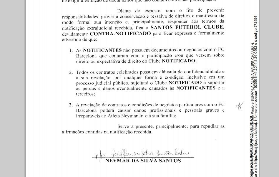 Em notificação, Neymar pai se recusou a ceder documentos da venda do filho ao Santos