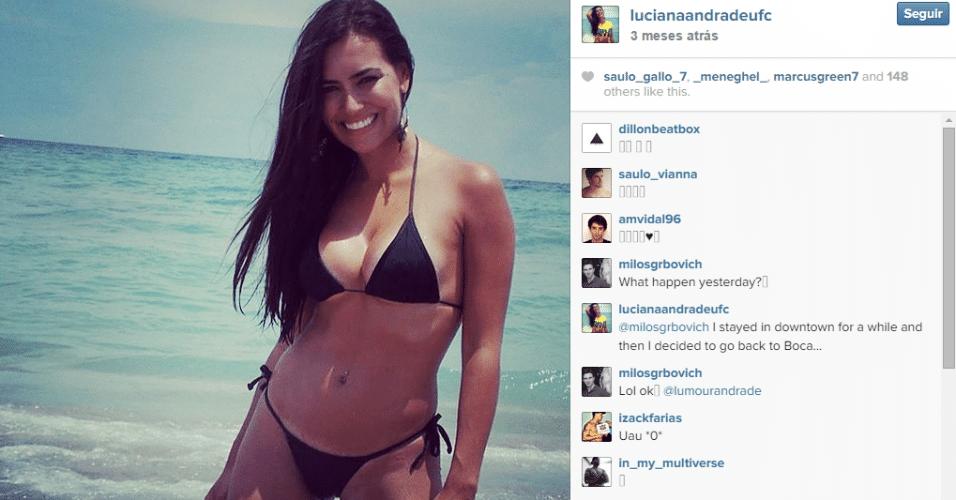Luciana Andrade, morena de 28 anos formada em direito e modelo, é a nova ring girl do UFC