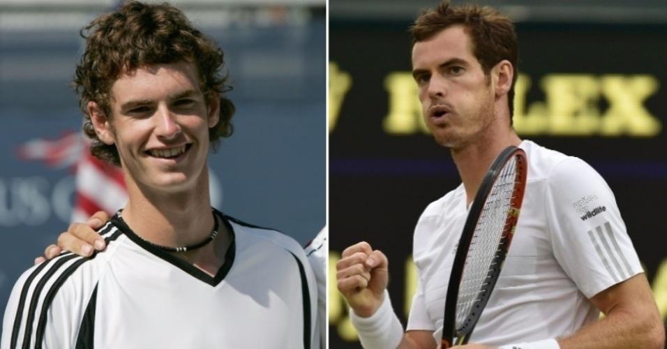 O tenista britânico Andy Murray mudou principalmente os cabelos ao longo de sua carreira
