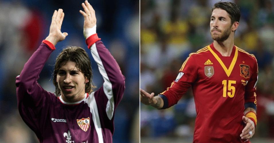 Vaidoso, o espanhol Sérgio Ramos foi outro que mudou bastante ao longo de sua carreira. A foto da esquerda é de 2004, quando o jogador atuava pelo Sevilla. A da direita é na seleção espanhola...Evoluiu hein?!