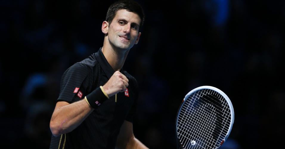 10. nov. 2014 - Novak Djokovic comemora vitória em cima de Marin Cilic, nas Finais da ATP