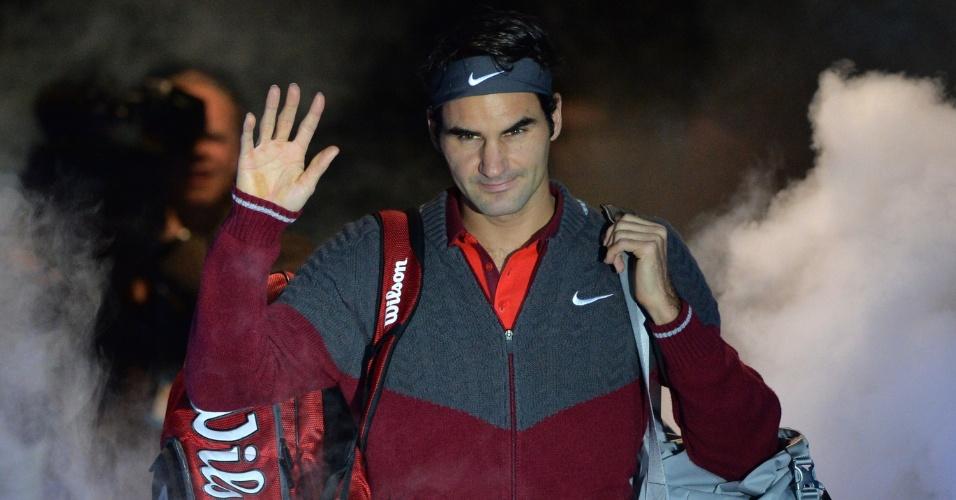 11.nov.2014 - Roger Federer é apresentado ao público antes da partida contra Kei Nishikori pelas Finais da ATP
