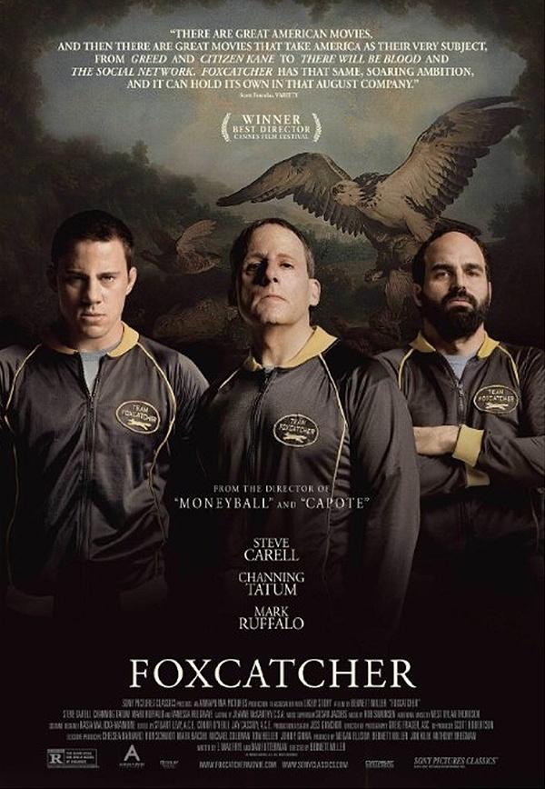 Pôster promocional do filme Foxcatcher, com Steve Carell e Mark Ruffalo